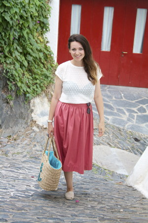 white opaque Stradivarius top - salmon midi skirt Zara skirt - tan Paez flats