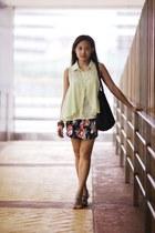 Topshop skirt - longchamp bag - Charles & Keith sandals - Forever 21 blouse