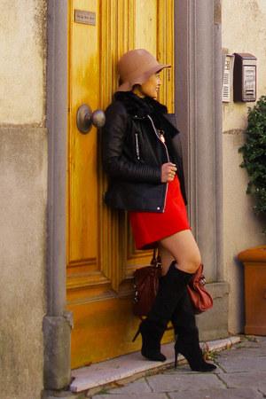 Mango boots - Promod hat - Bershka jacket - balenciaga bag