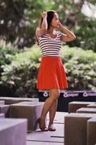 H&M skirt - Zara shirt - tory burch flats