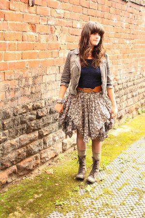 gray denim Zara jacket - gray boots - green socks - brown belt