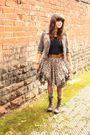 Gray-all-saints-skirt-gray-boots-green-socks-brown-belt-blue-thrifted-t-