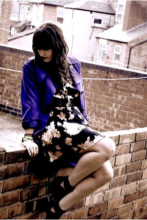 purple coat - black Topshop dress - black shoes