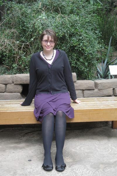 black St Johns Bay cardigan - purple merona dress - tights - Soda shoes