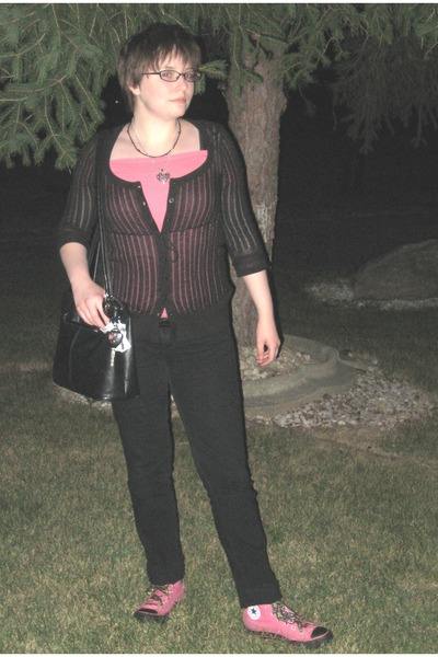 pink Mary Kay accessories - pink No Boundaries top - black DKNY Petite cardigan