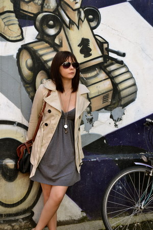 new look jacket - grey Urban Outfitters dress - black brown Krisp bag