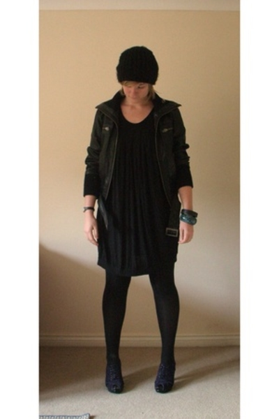 hat - Vero Moda dress - new look jacket - Topshop tights - Bertie shoes - Monsoo
