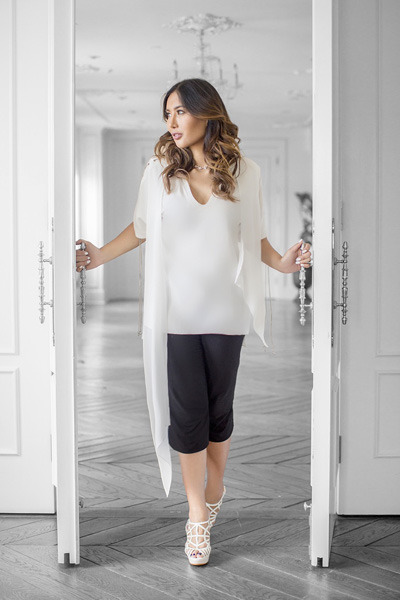 white Thomas Wylde shirt - black culottes Thomas Wylde pants - white Prada heels