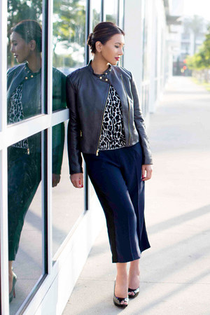 black leather ann taylor jacket - charcoal gray leopard print ann taylor shirt