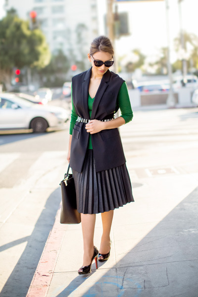 black David Kind sunglasses - black Zara vest - black Christian Louboutin heels
