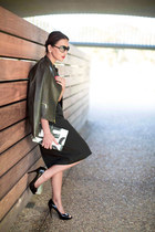 black custom made PIOL dress - black leather ann taylor jacket