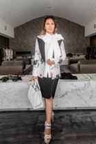 white floral print Thomas Wylde blazer - black studded Thomas Wylde skirt