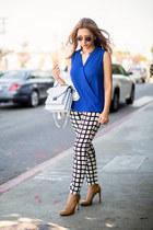light blue loeffler randall bag - white pearl Zara necklace