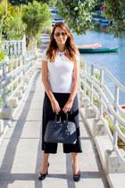 black Prada bag - black culottes Gucci pants - black patent Gucci heels