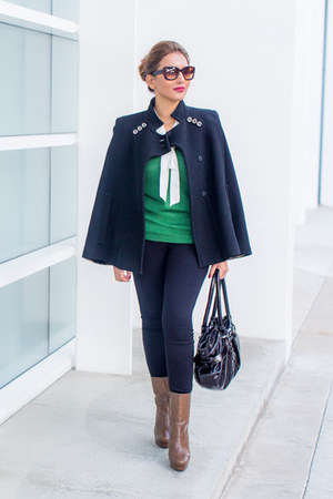 black BCBG coat - dark brown Balmain sunglasses - green Zara top