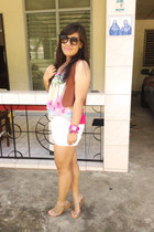 white SM shorts - Aldo sunglasses - Forever 21 sandals