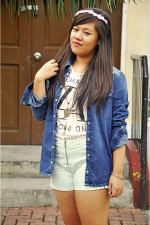 Forever 21 t-shirt - denim shirt Topshop top