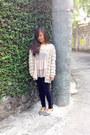 Black-forever-21-leggings-beige-crochet-cache-cache-cardigan