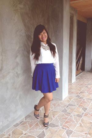 blue skater skirt Sabellissima skirt - bib necklace Forever21 necklace