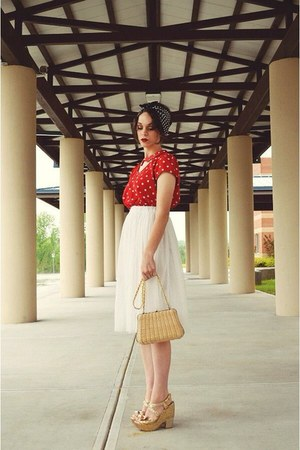 white tulle skirt - red polka dot Forever 21 dress