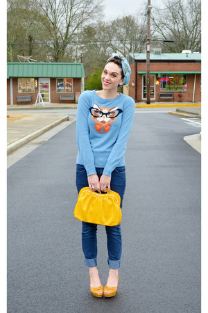 sky blue cat face Louche sweater - navy skinny H&M jeans - gold Candies purse
