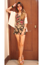 Forever 21 dress - floral shorts - vintage glasses
