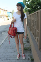 white Pimkie t-shirt - turquoise blue hat - brick red balenciaga bag