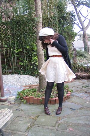 white Forever 21 hat - white vintage dress - black Target cardigan - brown vinta