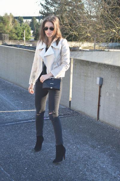 white Forever 21 jacket - Aldo boots - ripped skinny rag & bone jeans