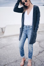 leather madewell sandals - grey wool Aritzia cardigan