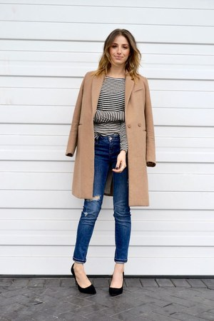 H&M coat - Zara jeans - H&M t-shirt - shoemint pumps