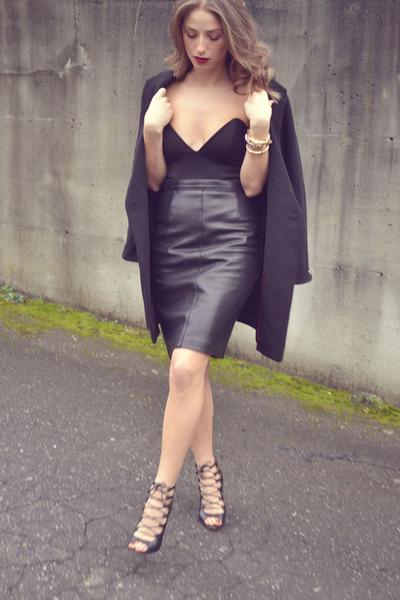black Forever 21 coat - black corset style Forever 21 top