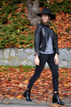 leather H&M jacket - patent Zara boots - black skinny citizens of humanity jeans