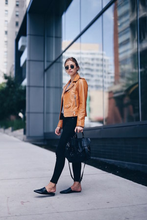 tan leather coach jacket - citizens of humanity jeans - slides vince flats