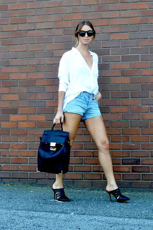 white Forever 21 blouse - backpack Forever21 bag