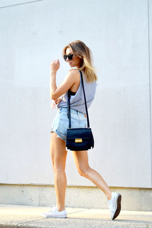 Forever 21 bag - jean Levis shorts - heather gray grey H&M top