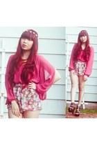 floral supre shorts - sheer chiffon Temt blouse