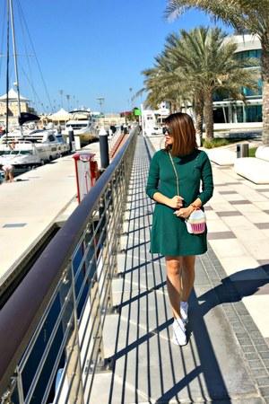 green Newchic dress - light pink Newchic bag - periwinkle dior sunglasses