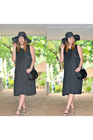 black Forever 21 dress - Forever 21 hat - Chloe bag