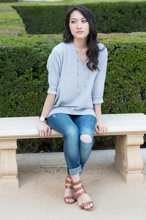 blue ripped denim Zara jeans - heather gray flowy knit Diivinity sweater