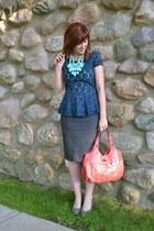 peplum Target top - pencil skirt TJ Maxx skirt - mary janes JCPenney heels