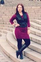 black riding DSW boots - magenta sweater clothing swap dress