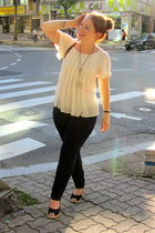 white blouse - navy Cello jeans - black Thrift Store wedges
