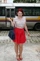 white thrifted Forever 21 blouse - red thrifted Forever 21 skirt