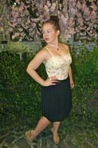 black Target skirt - off white top - camel Thrift Store wedges