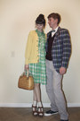 Chartreuse-plaid-merona-dress-bronze-thrifted-vintage-purse-cream-knit-j-cre