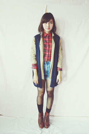 ruby red plaid vintage shirt - denim DIY shorts - navy vintage vest