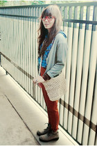 blue plaid Double- Cw shirt - military CAT boots - knit DIY bag