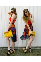black le chateau shoes - carrot orange lulus dress - yellow HelloParry bag
