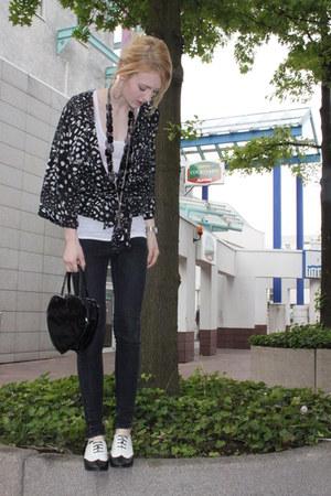 Primark jeans - kimono style H&M jacket - heart shaped Topshop bag - black Prima